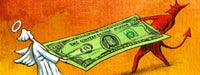 An all white angel and a all red devil playing tug of war with a 100 dollar bill and a red/orange background