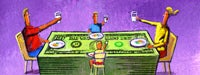 A family of 4 eating dinner on a large stack of money with a purple background