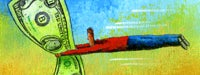 A cartoon man in red being pulled in the air by a large dollar bill with a blue and yellow background