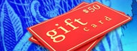 Blue background with 2 red cards reading &quot;gift card $50&quot; stacked on one another