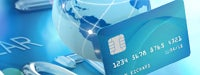 Credit card guide: World globe and credit card on bright blue credit card composition