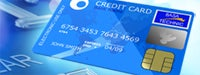 Credit card guide: Deep blue credit card on a bright aqua background
