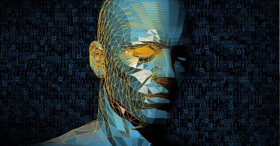 Man's head modeled in 3D