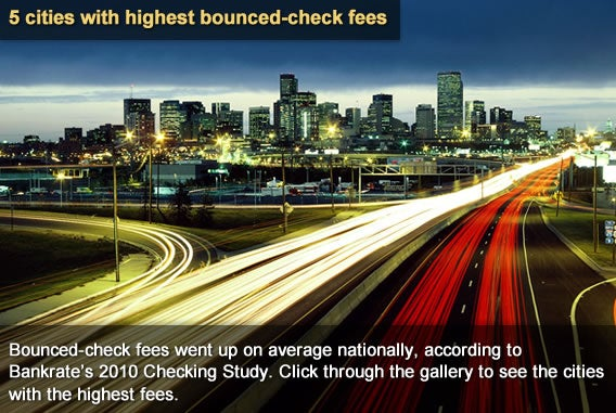 5 cities with highest bounced-check fees