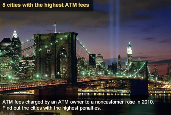 5 cities with the highest ATM fees