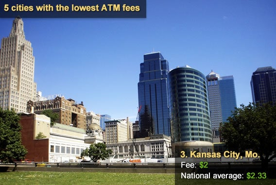 5 cities with the lowest ATM fees