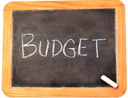 The word 'budget' written on a chalkboard