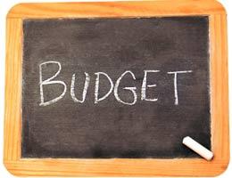 The word 'budget' written on a chalkboard