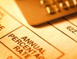 Credit card statement, APR in closeup