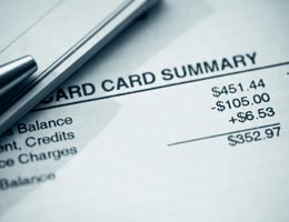 Credit card statement, balance in closeup