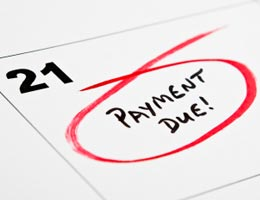 Date on calendar circled for payment due date