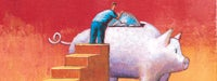 A cartoon man on stairs placing a large coin in a piggy bank with a reddish/orange background