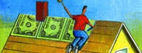 A cartoon man in red on the rooftop of his yellow house nailing money to his roof with a blue sky and green grass in the background