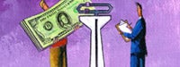 A cartoon man in a blue business suit, a large white scale and another cartooon man in red holding a large stack of money and a purple background