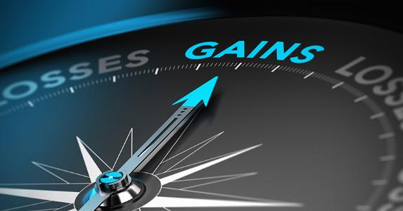 Compass pointing to 'gains'