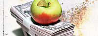 An apple on top of a stack of money and a dirty white background