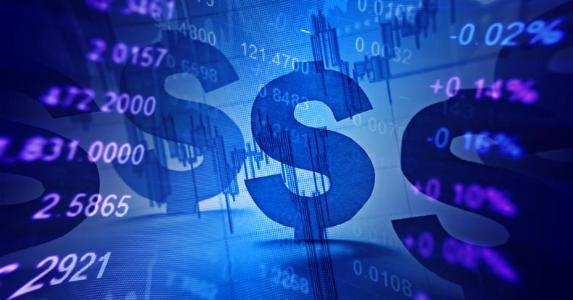 Dollar symbols and stock market data © isak55/Shutterstock.com