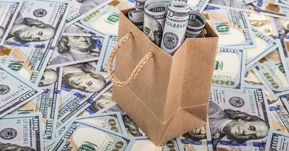 Dollars in a brown paper shopping bag © berna namoglu/Shutterstock.com