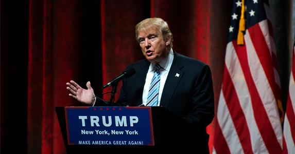 Donald Trump speaking in New York | Bryan Thomas/Getty Images