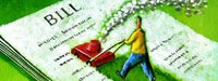 "A cartoon man in yellow with a red lawnmower mowing a large piece of paper reading, ""BILL"""