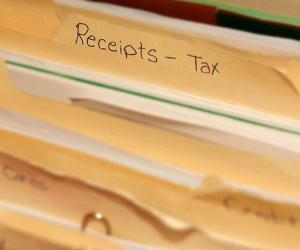Folder of tax receipts