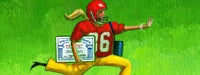 A cartoon woman in a football uniform and helmet with her left hand out in a stop motion and carrying a large social security card with a green background