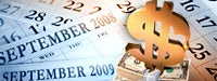 """September calendars for 2008 and 2009, a stack of dollar bills and a gold """"$"""" sign on top"""