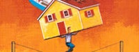 A cartoon man on a tightrope carrying a yellow and red house over his head and a orange and red background