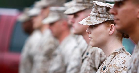 Formation of Marines, focus on woman Marine | iStock.com