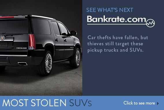 Car thefts have fallen, but thieves still target these pickup trucks and SUVs.