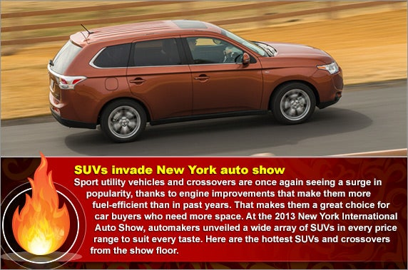 5 improved SUVs at the New York auto show | Fire background: © AKV/Shutterstock.com, Starburst: © resnak/Shutterstock.com, Line background: © SkillUp/Shutterstock.com