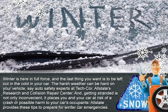 6 tips to prep for winter car emergencies © Photo courtesy of Allstate, Snow background: © vlastas/Shutterstock.com, sign: © Thomas Bethge/Shutterstock.com, mechanic: © Aleksangel/Shutterstock.com, snow flakes: © Liquid Works/Shutterstock.com