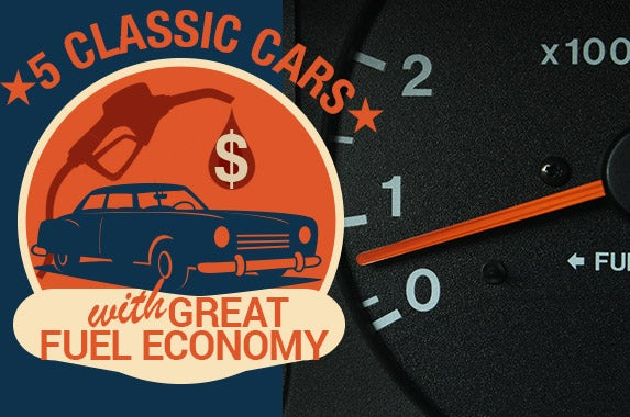 5 classic cars with great fuel economy | Dashboard Photo © Eric Fleming Photography/Shutterstock.com, Vintage Gas Illustration © Donnay Style/Shutterstock.com, Classic Car Illustration © Callahan/Shutterstock.com, Vintage Gasoline Poster © Donnay Style/Shutterstock.com,Vintage Car © Callahan/Shutterstock.com,