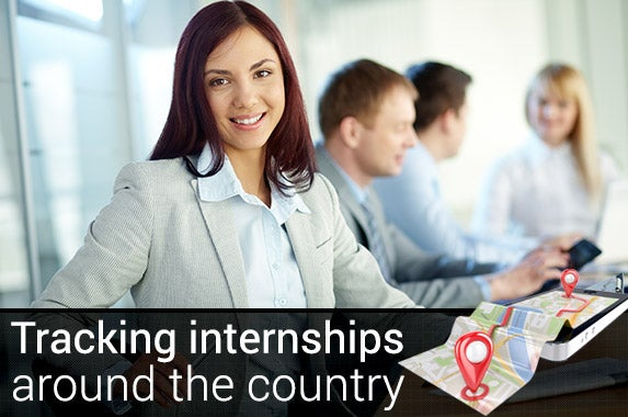 Tracking internships around the country | © Pressmaster/Shutterstock.com, GPS graphis: © Goritza/Shutterstock.com