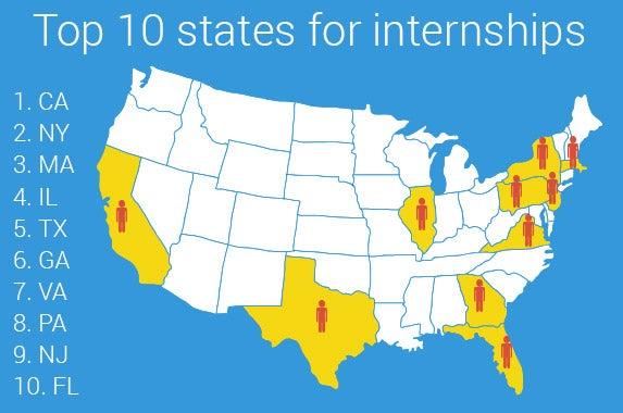 Top states for internships   © Iryna Sunrise/shutterstock.com