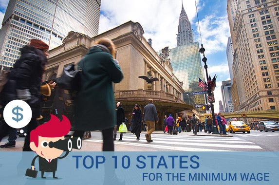 Top 10 states for the minimum wage © littleny/Shutterstock.com