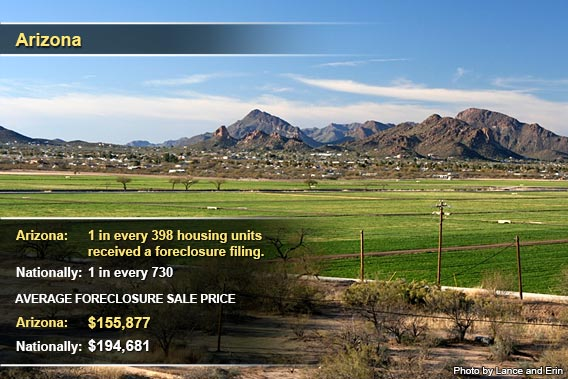 Top foreclosure states Sept. 2012: Arizona