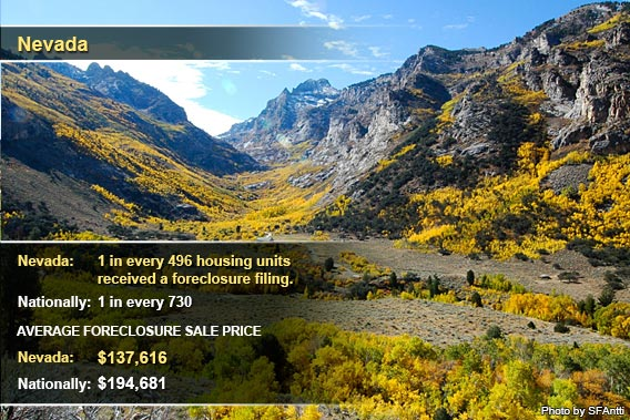 Top foreclosure states Sept. 2012: Nevada
