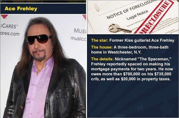 Ace Frehley © s_bukley/Shutterstock.com | Foreclosure document: © zimmytws/Shutterstock.com