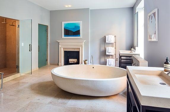Bathroom Brokers: Fredrik Eklund and John Gomes of Douglas Elliman; Photographer: Evan Joseph