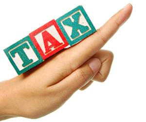 "Hand pointing upwards with word ""tax"" spelled"