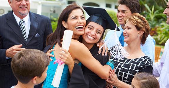 Happy family celebrating graduation