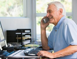 Senior man talking on the phone