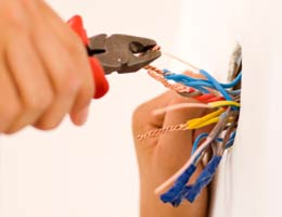Electrician working on wiring