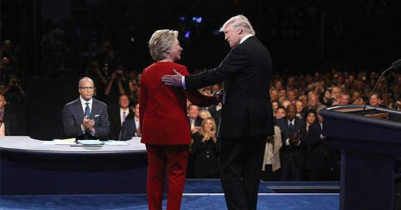 Hillary Clinton and Donald Trump in first presidential debate, Sept. 26, 2016 | Joe Raedle/Getty Images