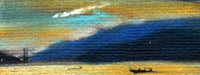 A blurry painting of a sunset on the water with a ship and mountains