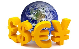 Globe and currency symbols © Jakub Krechowicz/Shutterstock.com
