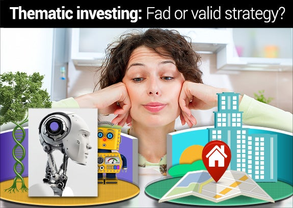 Thematic investing | Young woman choosing: © Subbotina Anna/Shutterstock.com, Yellow vintage toy robot: © Carsten Reisinger/Shutterstock.com, Robotic head: © Ociacia/Shutterstock.com, DNA tree trunk: © Christos Georghiou/Shutterstock.com, DNA tree top: © Mopic/Shutterstock.com, Building: © Tzubasa/Shutterstock.com, Location pin and map: © davooda/Shutterstock.com