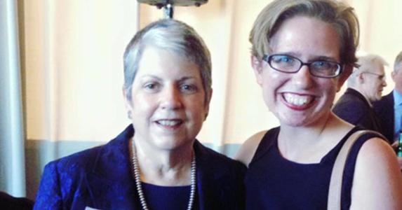 Julia Schemmer with Janet Napolitano, Former Governor of Arizona | Photo courtesy of Julia Schemmer