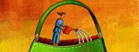 A cartoon woman in blue with a red watering can inside a large green purse and a yellow/orange background